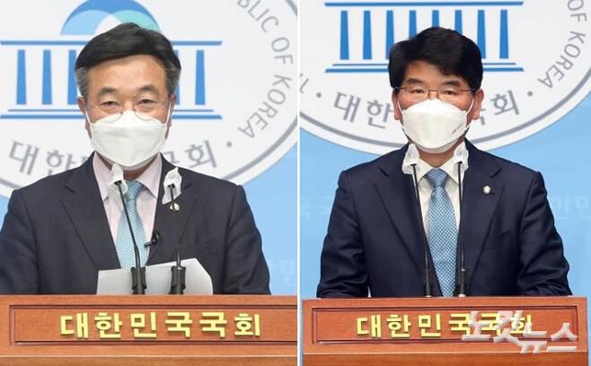 원내대표 경선에 출마한 윤호중 더불어민주당 의원(사진 왼쪽)과 박완주 더불어민주당 의원. 윤창원 기자