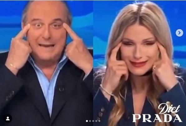 방송 중 눈찢기하는 이탈리아 TV 프로그램 진행자. ['다이어트 프라다' 인스타그램 갈무리. DB 저장 및 재배포 금지]