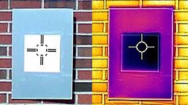 적외선 카메라로 촬영한 영상은 울트라 화이트 페인트의 도장면 온도가 주변보다 낮은 것을 보여준다.(사진=슈린 루안/퍼듀대)