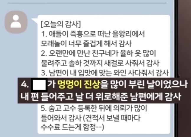 생후 16개월 입양아 정인양을 학대해 숨지게 한 혐의를 받는 양모 장모(35)씨가 작성한 '감사 일기' 내용 일부. 연합뉴스TV 캡처
