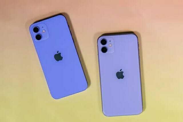 왼쪽은 아이폰12 퍼플, 오른쪽이 아이폰11 라벤더 색상이다. (사진=씨넷)