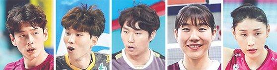 한선수, 황택의, 이민규, 이소영, 김연경(왼쪽부터)