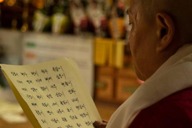 스님이 극락왕생을 기원하는 동물들의 이름을 읽고 있다. 봉우곰스튜디오 제공