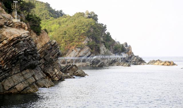 바다부채길은 2,300만년 전 한반도의 지각변동을 관찰할 수 있는 곳으로 일대가 천연기념물로 지정돼 있다. 사진은 심곡항에서 바라본 정동심곡바다부채길.