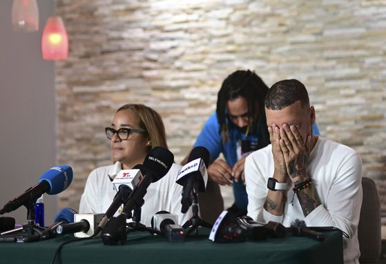 로드리게스의 가족이 6일(현지시간) 기자회견을 하고 있다. AP=연합뉴스