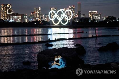 일본 도쿄 오다비아 해양공원에 있는 오륜기 조형물 [AFP=연합뉴스 자료사진]