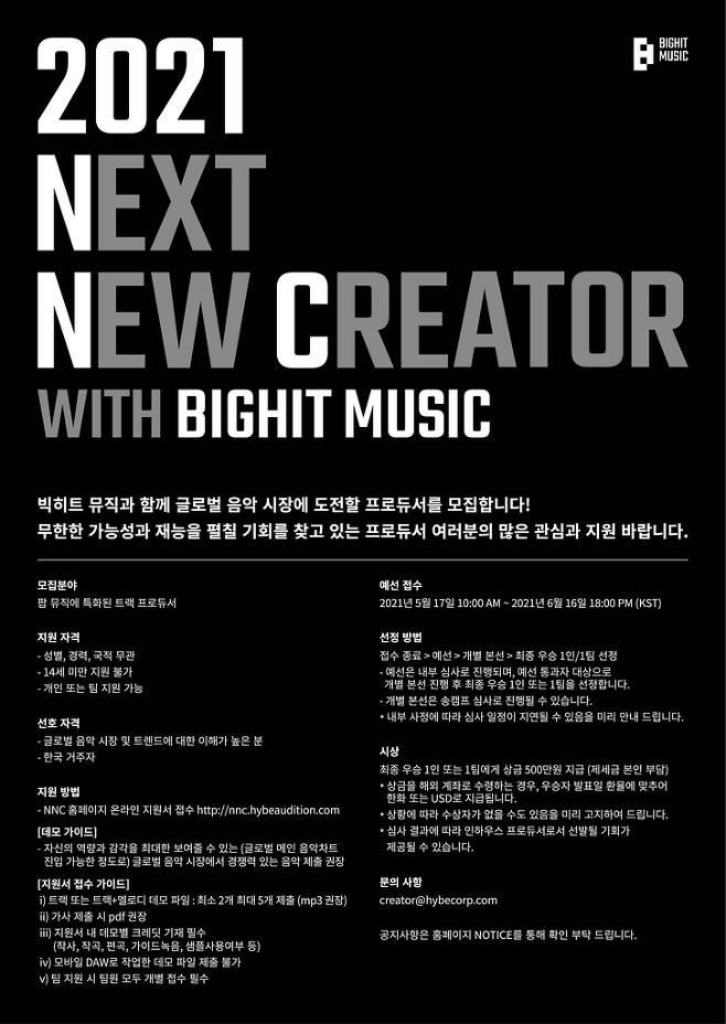 빅히트 뮤직, 글로벌 프로듀서 오디션 개최 [빅히트 뮤직 제공. 재판매 및 DB 금지]