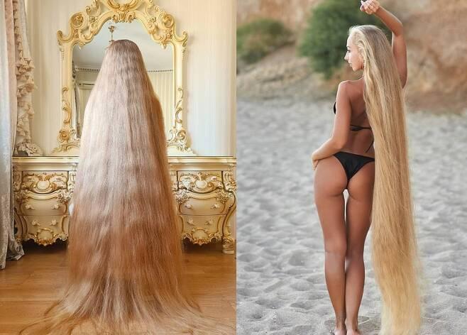 우크라이나 오데사 출신의 '현실의 라푼젤' 알레나 크라브첸코는 30년 동안 6.5피트(약 180㎝) 길이의 자연산 금발 머리를 하고 있다. (데일리메일 갈무리) © 뉴스1