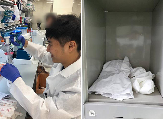 故 손정민씨 아버지가 공개한 아들 정민씨의 생전 모습과 그의 학교 사물함 모습/사진=故 손정민 아버지 손현씨 블로그