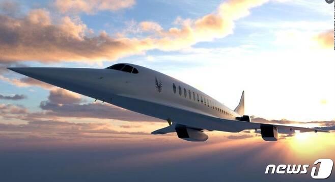 미국의 스타트 기업 붐 슈퍼소닉이 개발하고 있는 마하 2.2의 초음속비행기 '오버추어'.(트위터 갈무리)© 뉴스1