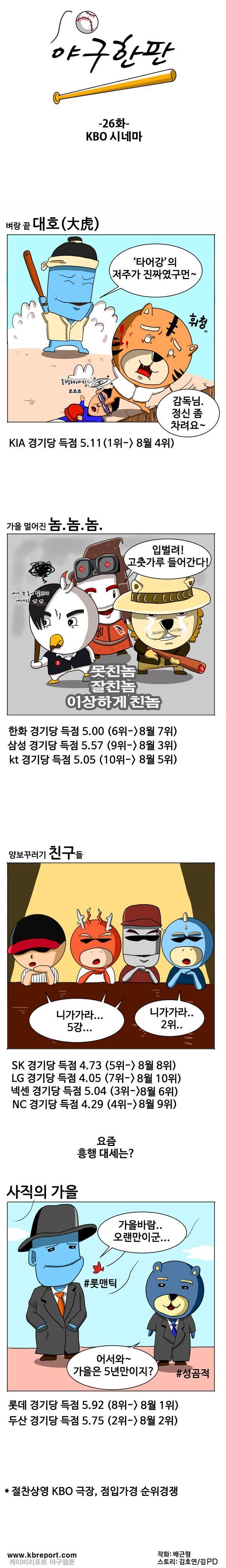 출처: [KBO카툰] 벼랑 끝 '대호', 가을 멀어진 '놈-놈-놈'