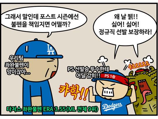 출처: [MLB 코메툰] '괴물모드' 류현진, PS에선 불펜행?