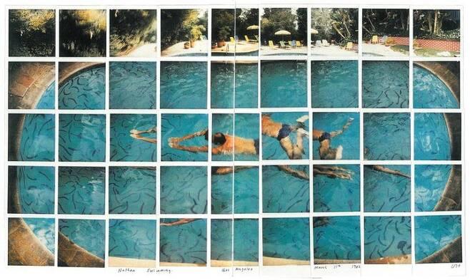 출처: Nathan Swimming Los Angeles March 11th 1982 composite polaroid 18 x 30 in 45.7 x 76.2 cm Private collection(002)|Tate.org.uk