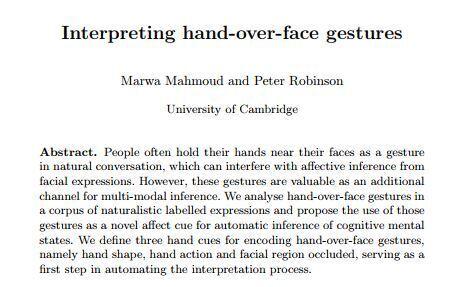 출처: 마와아무드 교수팀 논문 'Interpreting hand-over-face gestures' 캡처