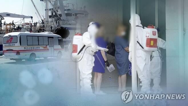 외국인 선원 확진 (CG) [연합뉴스TV 제공]