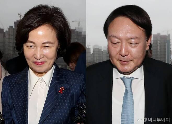 추미애 전 법무부장관(사진 왼쪽). 윤석열 전 검찰총장. 2020.01.07. /사진=이기범 기자/ leekb@