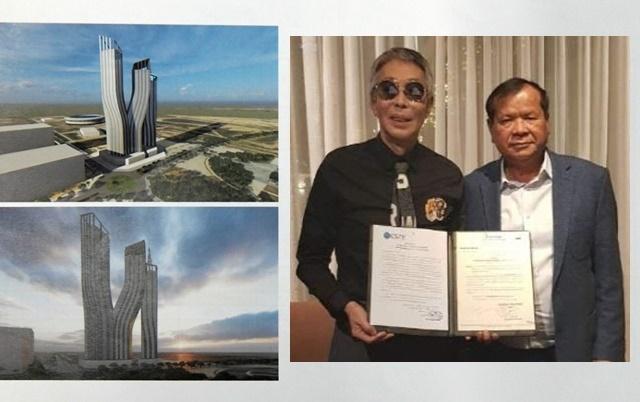 서세원이 해외 자본을 유치해 건립하는 CSTV 신청사(60층)에는 레지던스 및 생활편의시설, 쇼핑몰, 메디컬센터가 입주한다. 왼쪽 사진은 조감도, 오른쪽은 서세원과 통큰 캄보디아 문화관방부 장관. /소스원 제공