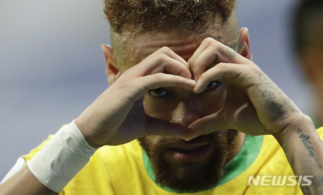[브라질리아=AP/뉴시스] 브라질 에이스 네이마르. 2021.06.13.
