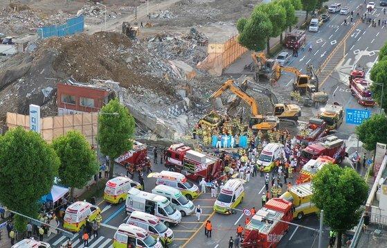 지난 9일 17명의 사상자가 발생한 광주광역시 동구 학동 주택재개발 철거 건물 붕괴 현장. 프리랜서 장정필