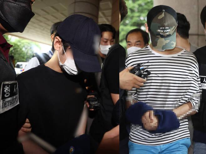 서울 마포구의 한 오피스텔에서 친구 A씨를 감금해 살인한 혐의를 받는 김 모 씨와 안 모 씨가 지난 15일 오전 서울서부지법에서 열린 구속 전 피의자 심문(영장실질심사)에 출석하고 있다. (사진=연합뉴스)