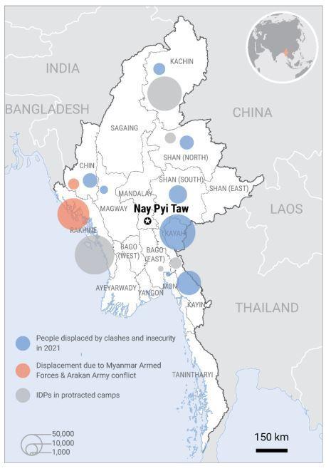 [서울=뉴시스] 유엔 인도주의업무조정국(OCHA)이 24일(현지시간) 홈페이지에 게재한 '미얀마 인도주의 업데이트'. 2021.06.25 *재판매 및 DB 금지
