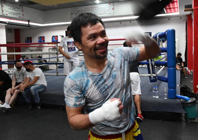 매니 파키아오가 지난달 22일 필리핀의 한 체육관에서 복귀전을 대비해 훈련하고 있다. /AFP연�u뉴스