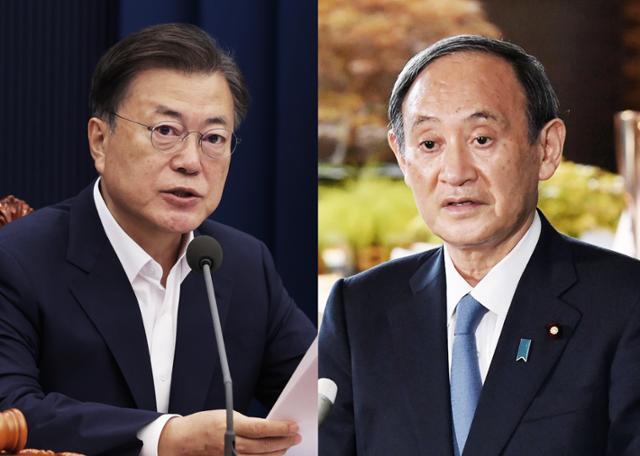 문재인 대통령과 스가 요시히데 일본 총리. 연합뉴스