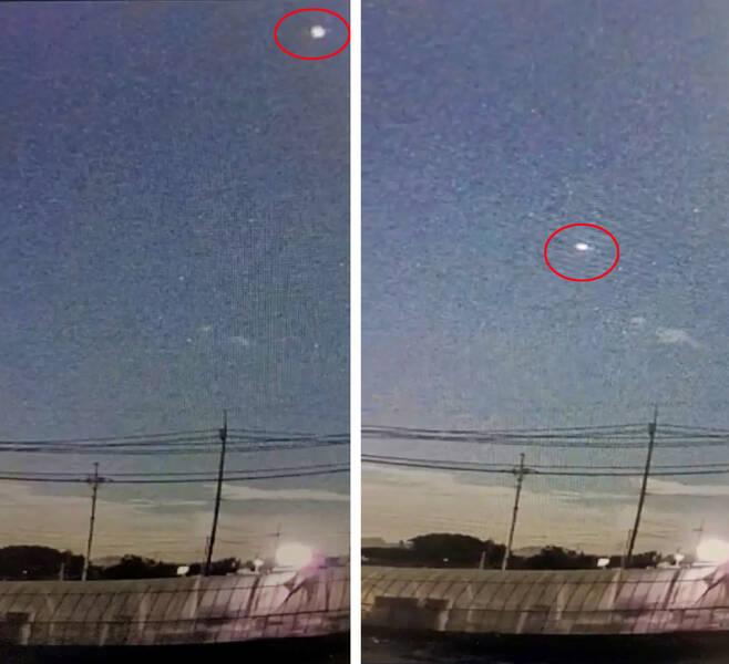 지난 20일 오후 9시30분께 전남 무안에서 UFO를 목격했다는 신고가 접수됐다. 원 안에 UFO로 추정되는 물체가 포착됐다, [연합]