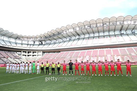 2020 도쿄 올림픽 남자 축구 조별리그 B조 1차전에서 뉴질랜드에 패한 한국. 사진=게티이미지