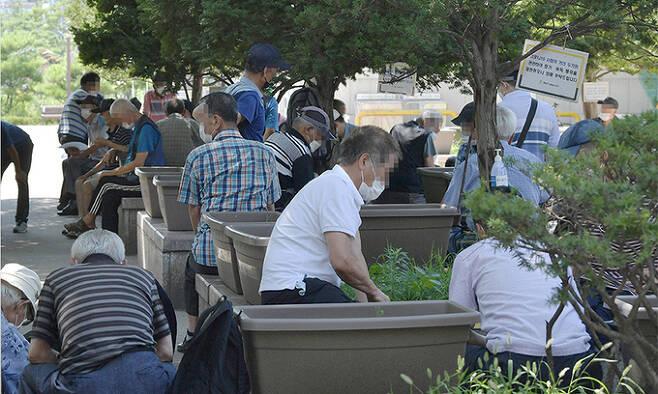 29일 통계청이 발표한 '2020년 등록센서스 방식 인구주택총조사' 결과에 따르면 65세 이상 고령 인구는 821만명으로 1년 전 775만명보다 46만명 증가했다. 처음으로 800만명을 돌파했으며 고령인구가 전체 인구에서 차지하는 비중도 15.5%에서 16.4%로 올라갔다. 사진은 이날 서울 종로구 종묘공원의 나무그늘 아래에서 노인들이 모여앉아 바둑을 두는 모습. 하상윤 기자