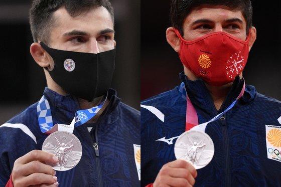 도쿄올림픽 유도 은메달리스트 조지아 선수 바자 마르그벨라슈빌리(왼쪽)와 라샤 샤브다투시빌리. AP·AFP=연합뉴스