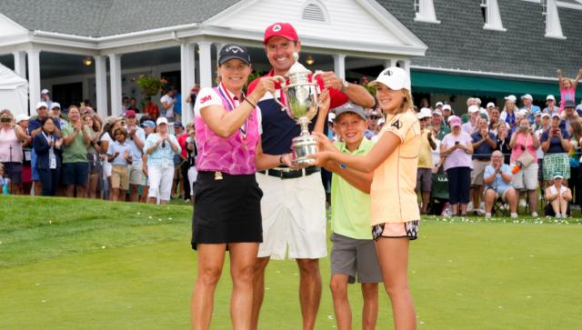 안니카 소렌스탐(왼쪽부터), 남편 마이크 맥기, 아들 윌, 딸 아바의 모습. /사진=USGA 홈페이지