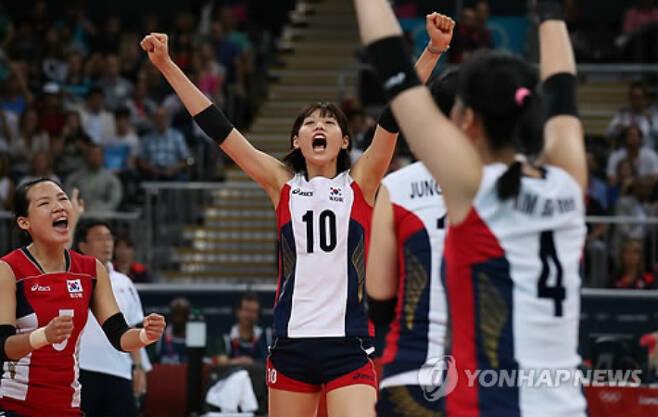 2012 런던올림픽 당시 풋풋했던 김연경의 모습. 연합뉴스