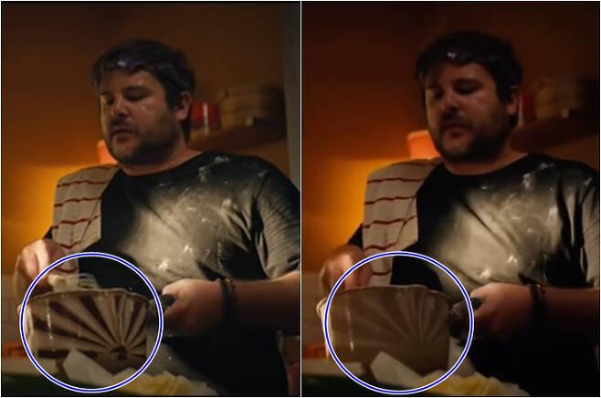 논란이 된 애플 광고. 원본(왼쪽), 한국 수정 버전(오른쪽). 유튜브 캡처