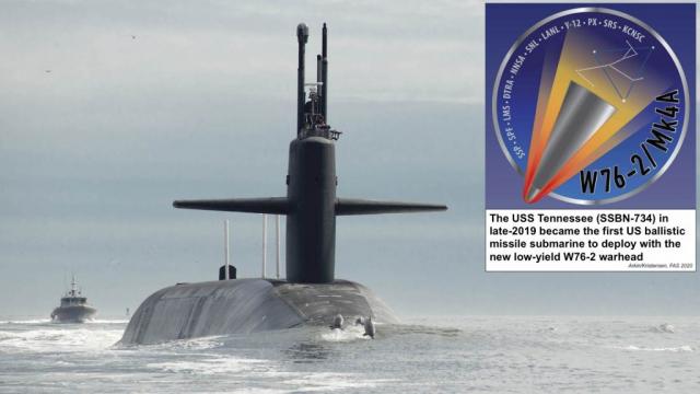 미 해군 핵잠수함 테네시호가 저위력 핵탄두를 탑재한 잠수함발사탄도미사일(SLBM)인 트라이던트-Ⅱ미사일을 싣고 지난 2019년 하반기 임무작전에 나서는 모습(사진제공=미 해군)
