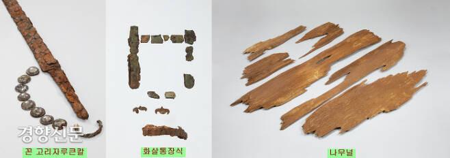 신덕고분에서 출토된 고리자루 큰칼과 화살통장식, 나무 널. 손잡이가 꼰 형태의 고리자루큰칼과 관재로 쓰인 나무(금송)는 일본제로 보인다. 화살통 장식의 제작지는 일본일 수도, 백제일 수도 있다.|국립광주박물관 제공