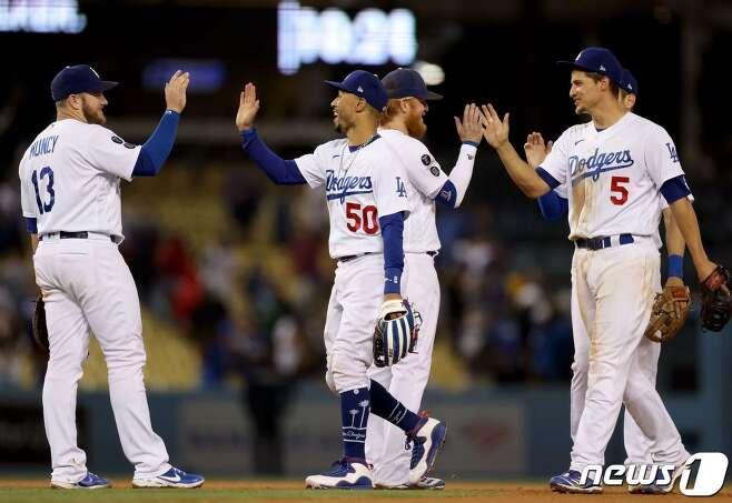 LA 다저스가 포스트시즌 진출을 확정했다.© AFP=뉴스1