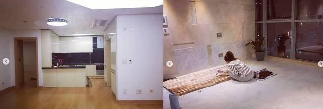 조성은씨가 거주 중이라고 스스로 밝힌 서울 용산구 소재 고급 주상복합 아파트의 인테리어 전후 모습. 왼쪽 사진에는 직접 인테리어를 하고 있는 조씨 모습이 담겼다. 이 아파트의 임대료 시세는 전세 14억원, 매매가는 약 30억원이다. /인스타그램