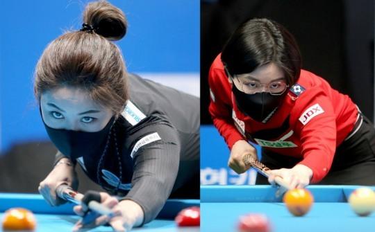 8강길이 빡빡한 두 여제 김가영(왼쪽)과 이미래.