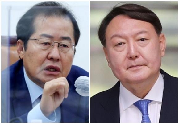 홍준표(왼쪽) 국민의힘 의원과 윤석열 전 검찰총장. 연합뉴스