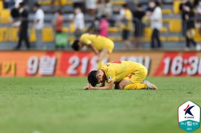 ▲ 통한의 무승부를 거둔 광주FC가 승점 1점도 잃을 위기에 처했다. ⓒ한국프로축구연맹