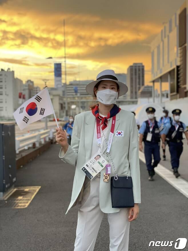 2020 도쿄 올림픽 개막식에 참석했던 김수지. (김수지 제공) © 뉴스1