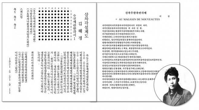 이상(본명 김해경)의 시 '삼차각 설계도_선에 관한 각서I' 의 한국어 번역본과'건축무한육면각체-AU MAGASIN DE NOUVEAUTES' 본문. GIST제공
