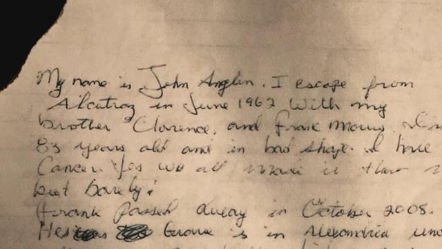 자신을 1962년 앨커트래즈 탈옥범 존 앵글린이라고 주장하는 사람이 2013년 샌프란시스코 경찰국에 보낸 편지. 지역방송국 KPIX5가 2018년 입수해 보도하면서 세상에 알려졌다. KPIX5 홈페이지 캡처