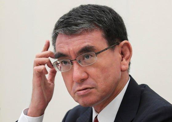 29일 열리는 일본 자민당 총재선에서 당선이 유력한 고노 다로 행정개혁담당상. [로이터=연합뉴스]