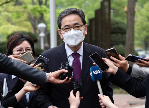 4월 23일 공수처를 항의 방문한 곽상도 의원.(사진=연합뉴스)