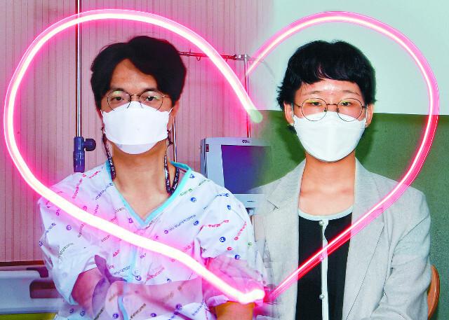 조혈모세포 기증자 나모씨(35·왼쪽)와 수혜자 이엘리씨(25)가 LED 랜턴을 이용해 하트를 그리는 장면을 합성한 사진. 나씨와 이씨는 각각 다른 사람과 기증 및 이식을 했다. 나씨 사진은 대전 충남대병원 혈액원에서, 이씨 사진은 지난 8일 서울 서대문구 교회에서 촬영했다.
