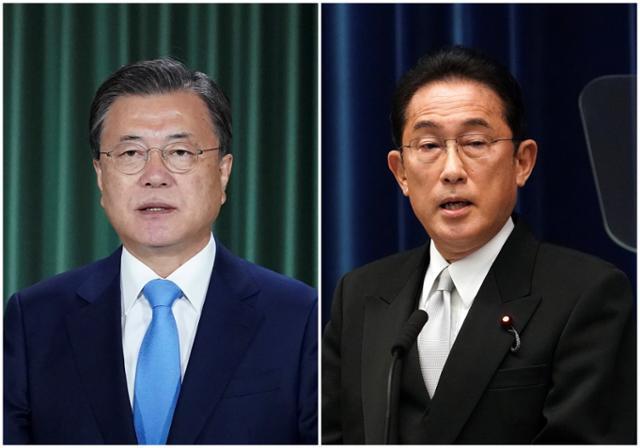 문재인(왼쪽 사진) 대통령과 기시다 후미오 일본 총리. 청와대 제공, AP 연합뉴스