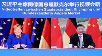 시진핑 중국 국가주석(오른쪽)이 14일 앙겔라 메르켈 독일 총리와 화상 회담을 하고 있다. 중국 외교부 홈페이지 캡쳐