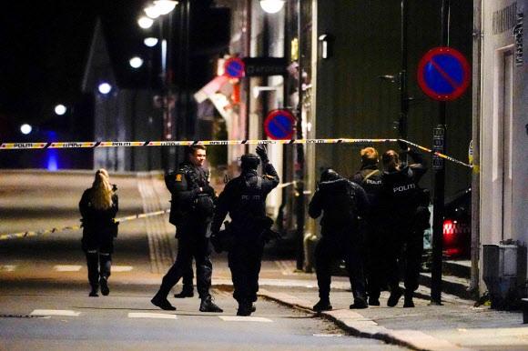 지난 13일(현지시간) 노르웨이의 소도시 콩스베르그에서 번화가 곳곳을 돌아다니며 화살을 쏴 7명의 사상자를 발생시킨 사건이 발생한 가운데 현지 경찰이 사건 현장을 수습하고 있다. 콩스베르그=AFP연합